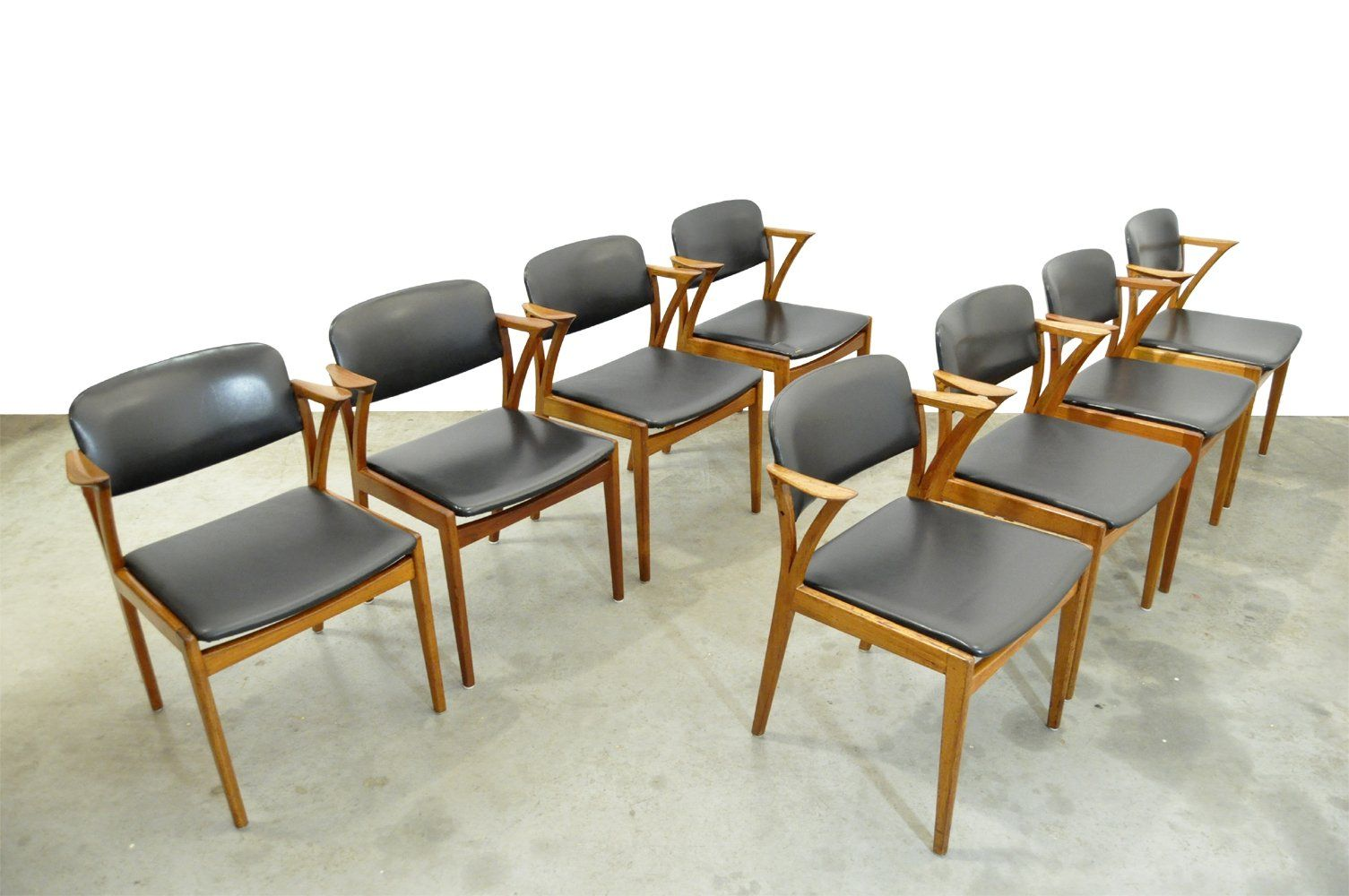 For Sale Set Of 8 Vintage Teak Dining Chairs By Kai Kristiansen For Bovenkamp 1960s