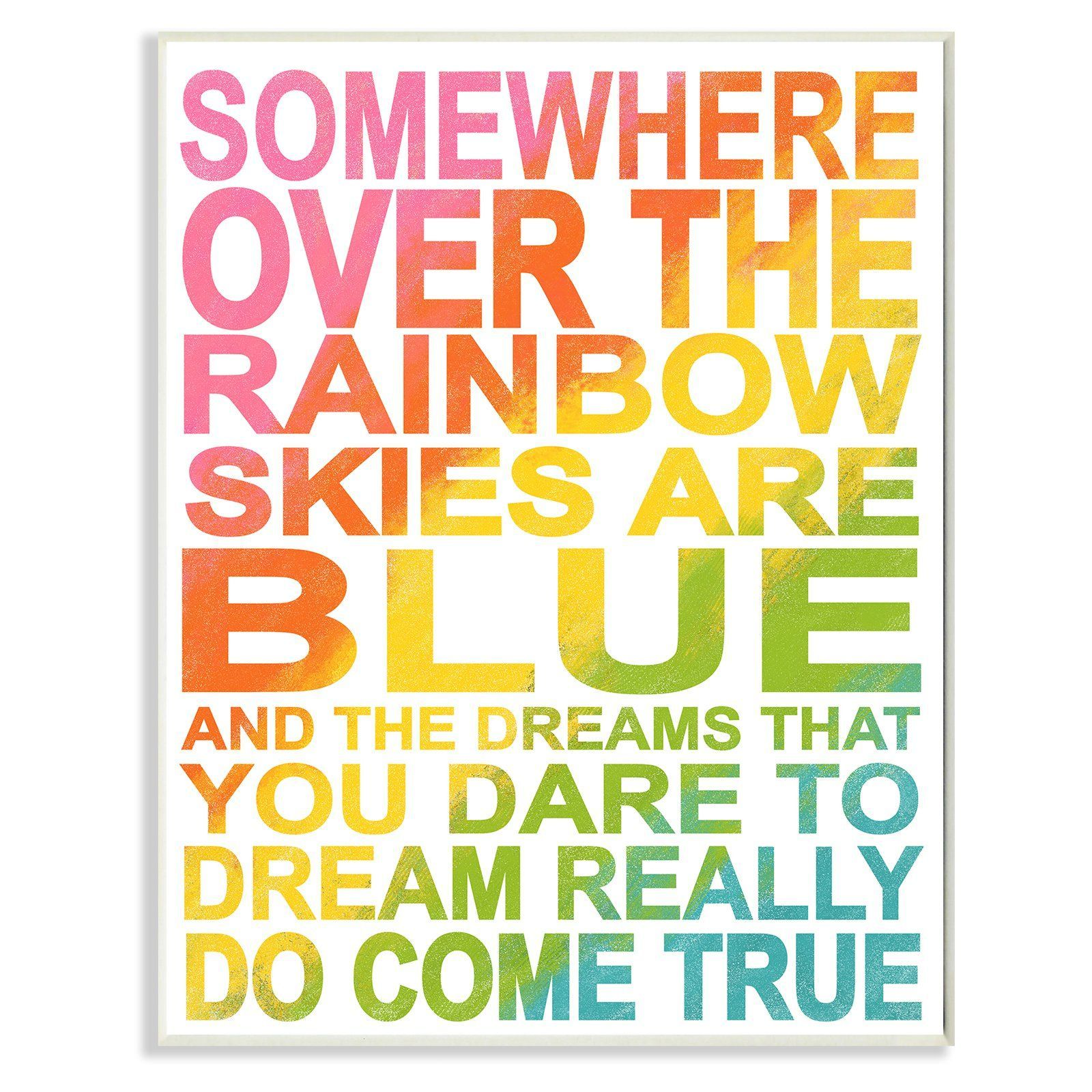 Stupell Decor Somewhere Over Rainbow Ombre Wall Plaque Art - BRP ...