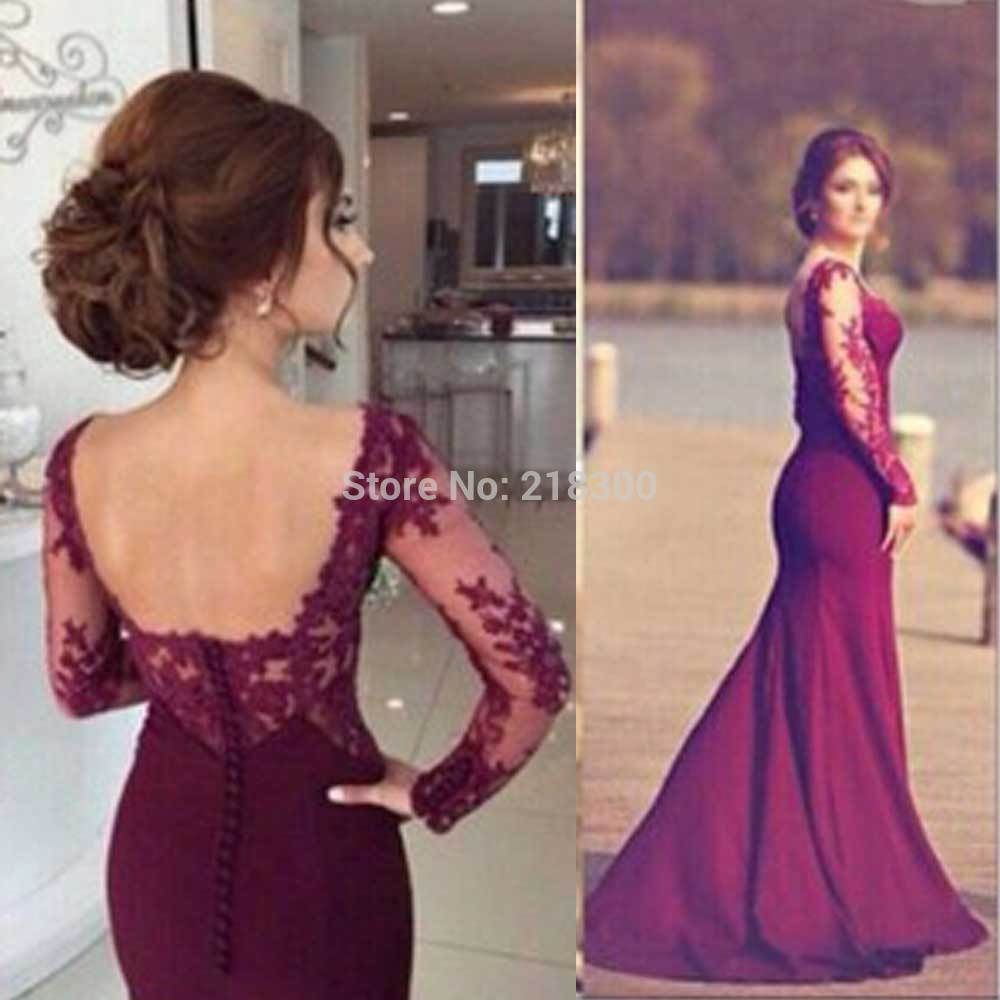 Click to buy ucuc plum mermaid prom dress long sleeves backless prom