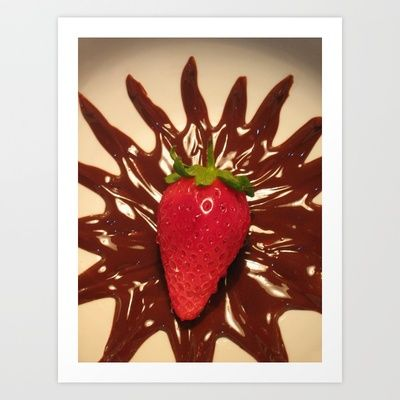 Strawberry In Chocolate Art Print by Ornaart - $16.00