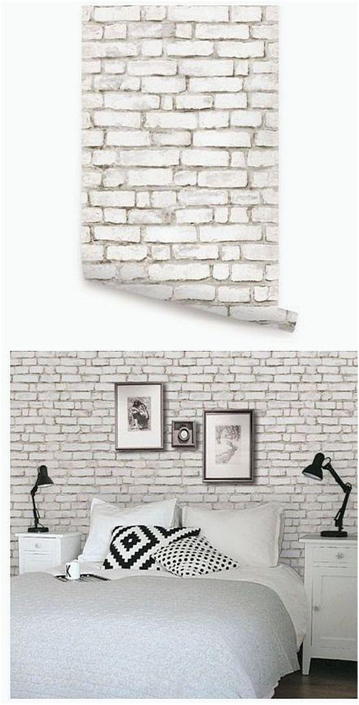 Hiasan Kamar Tidur Dari Wallpaper Batu Bata (Dengan gambar