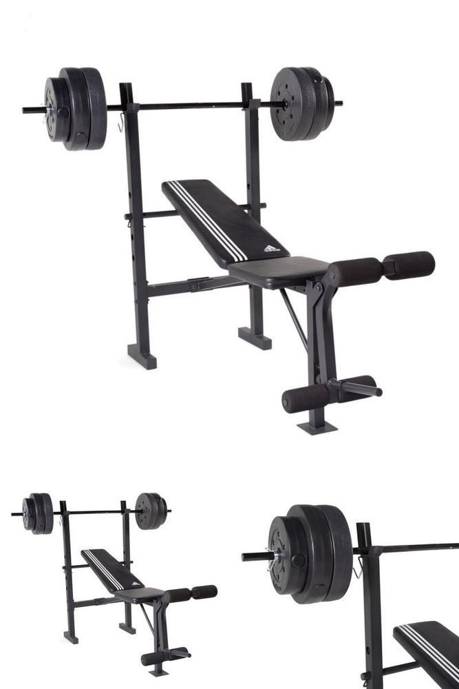 Adjustable Folding Bench Flat Weight Press Gym With Weight Set 100