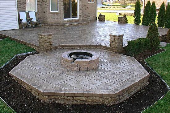 Stamped Concrete Patio Designs | Biondo Cement   Patios Gallery / 10  Concrete Patio Rochester MI Fire .