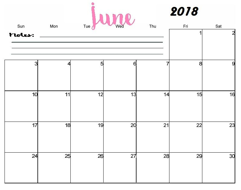 Free Printable Blank June Calendar 2018 Maxcalendars Pinterest