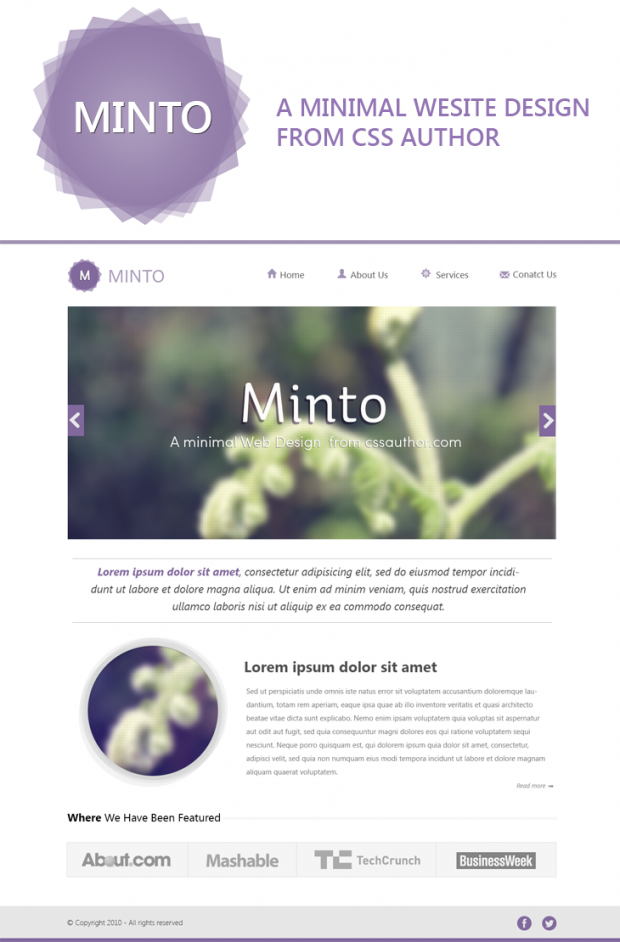 Minto A Free Minimal Website Design Template Layout Minimalist Psd Resource Simple Web