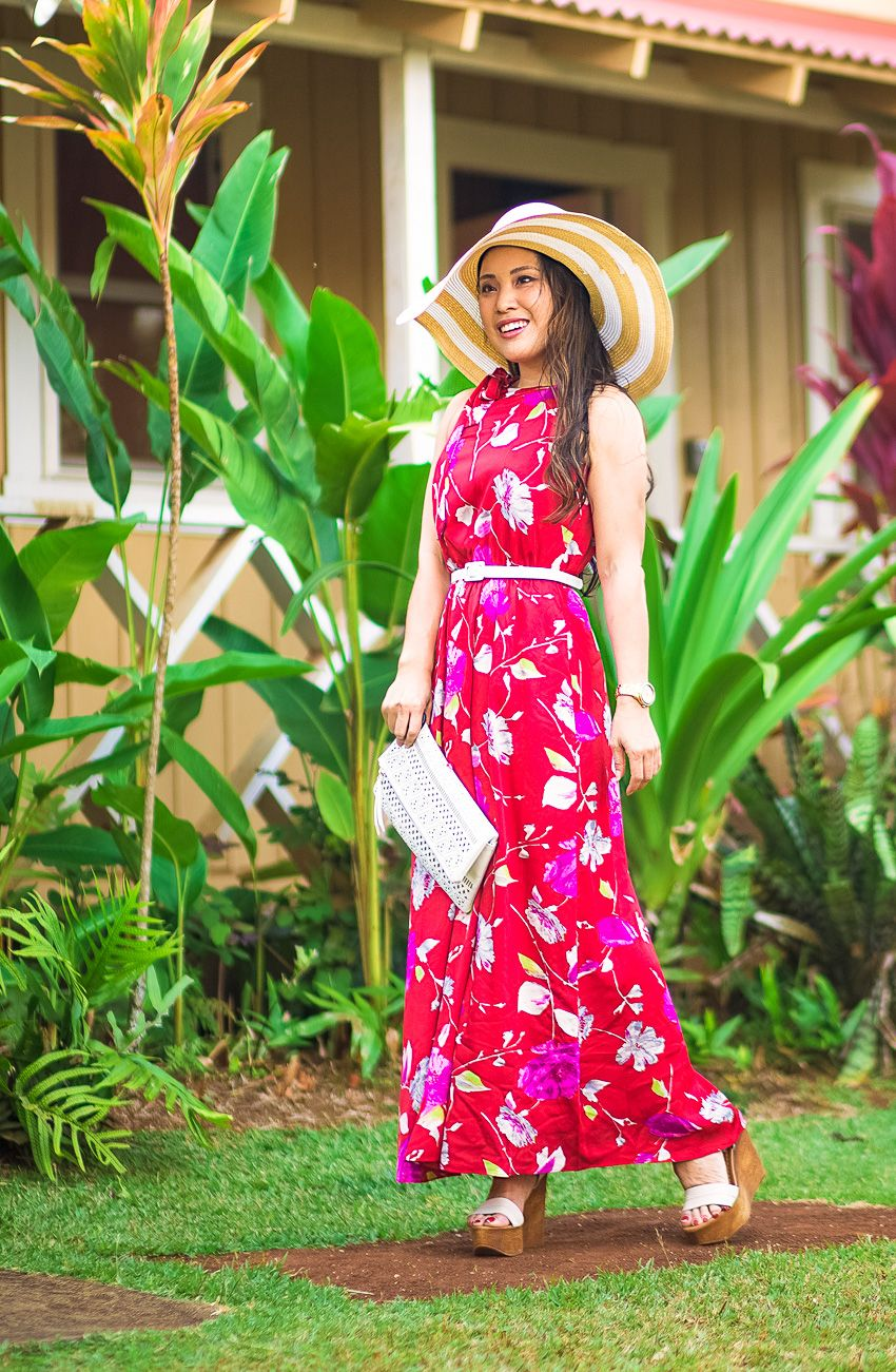 44ebb9449 cute & little | dallas petite fashion blog | banana republic floral tie-neck  red maxi dress, steve madden belma, wide-brim floppy striped sun hat, ...