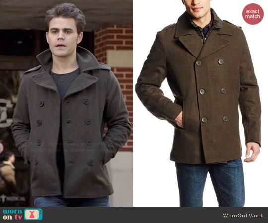 Stefan's olive green peacoat on The Vampire Diaries. Outfit ...