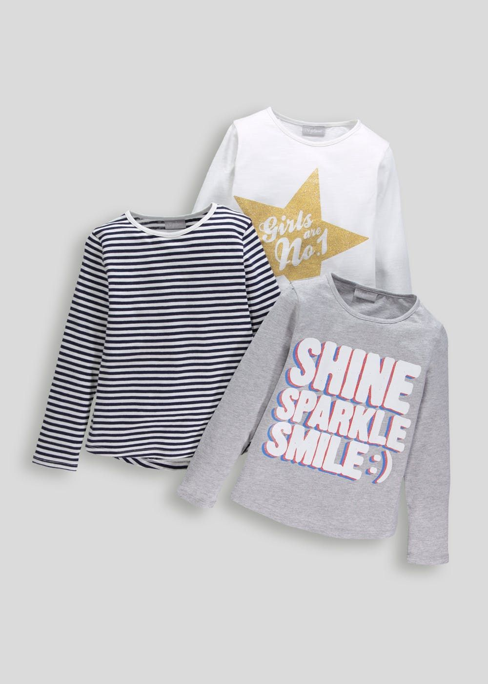 8f70e2e2c1002e Girls 3 Pack Long Sleeve T-Shirts (4-13yrs) – White | W20 | Tops ...