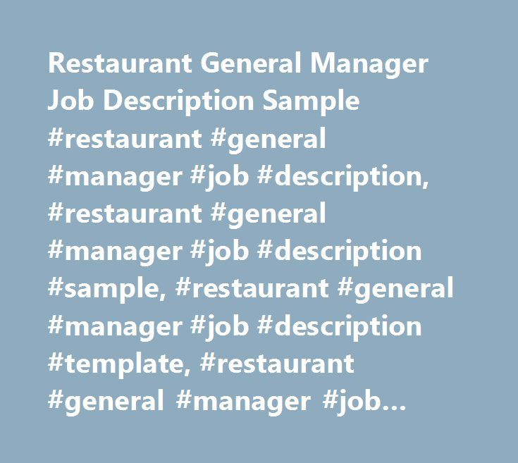Restaurant General Manager Job Description Sample Restaurant