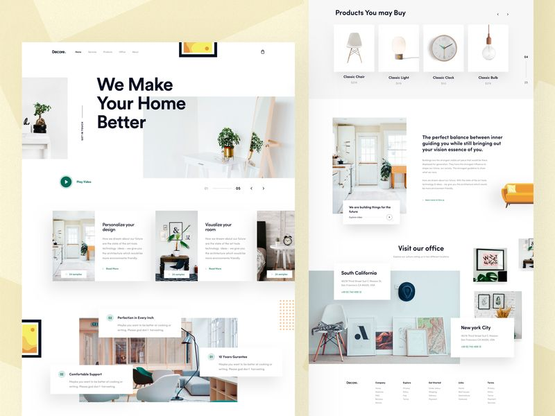 Interior Design Landing Page 이미지 포함