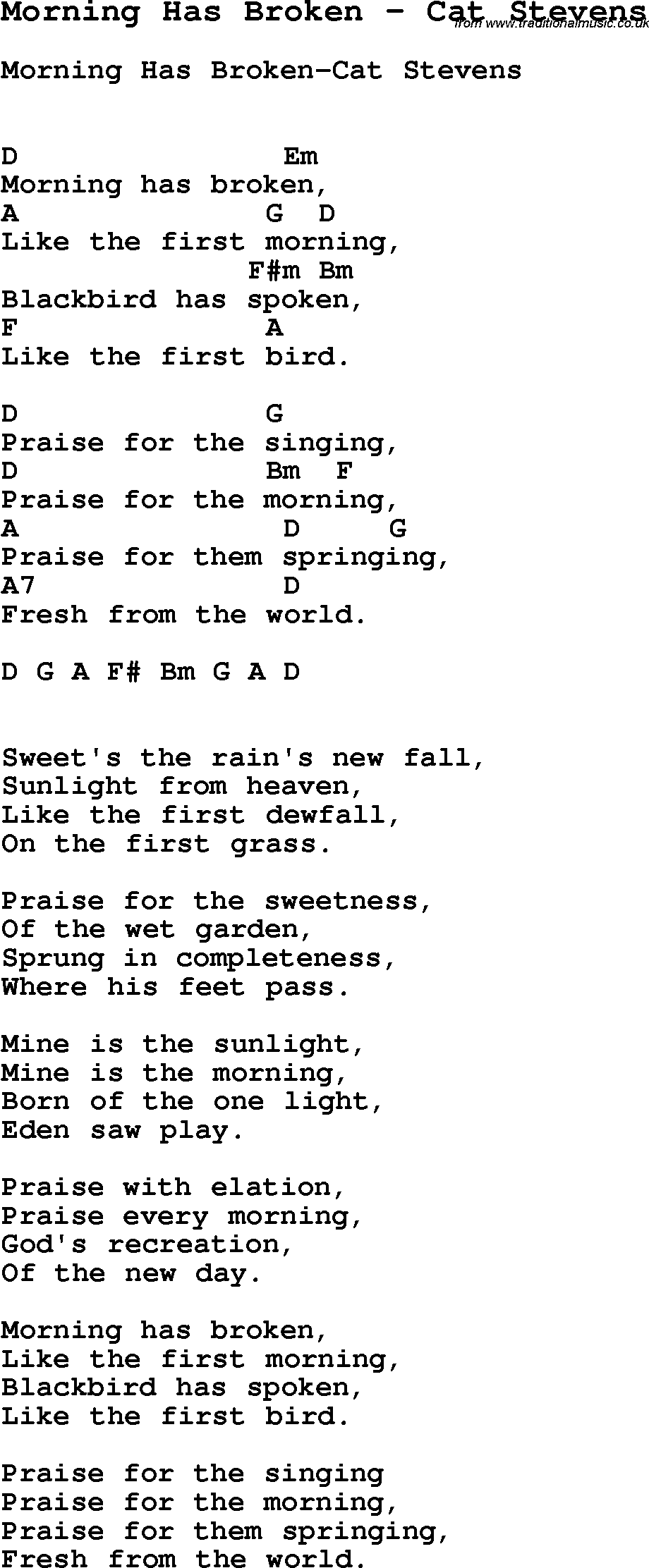 Song Morning Has Broken By Cat Stevens With Lyrics For Vocal