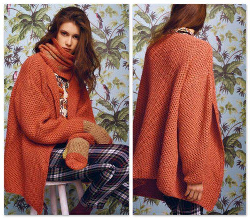 Une veste chaude et ample et son bonnet assorti | tricot,crochet ...
