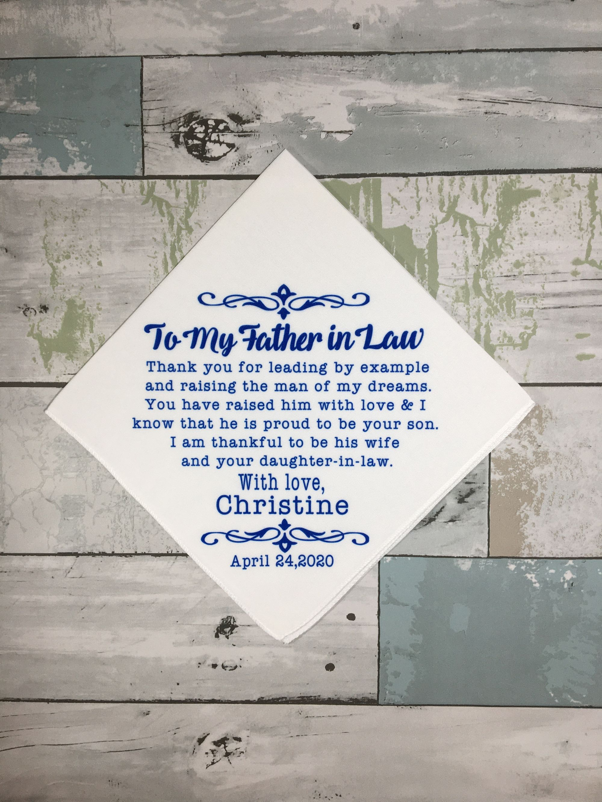 Father In Law Wedding Present Father Of The Groom Gift Customized Wedding Day Handkerchief Gift From Bride To Father In Law Wedding Gift In 2020 Personalized Handkerchief Wedding Personalized Groom Gifts Wedding Gifts For Groom