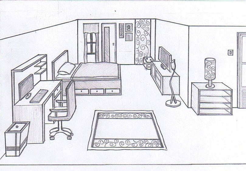 Bedroom Design Drawing Best Drawing Skill How To Draw A Bedroom Step By Step I Bedroom De In 2020 Bedroom Drawing Interior Design Sketch Interior Design Sketches
