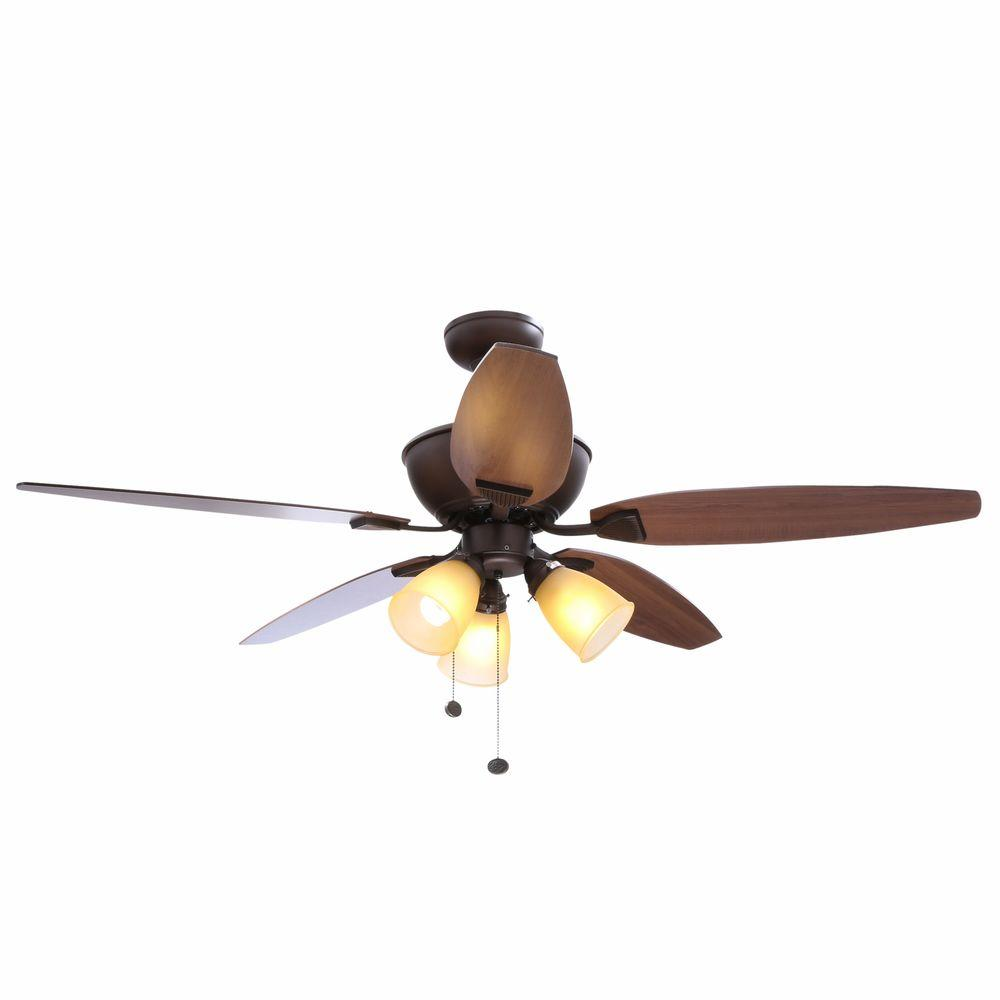 Hampton Bay Carrolton 52 In Indoor Oil Rubbed Bronze Ceiling Fan With Light Kit Yg288a Orb The Home Depot Bronze Ceiling Fan Ceiling Fan Switch Ceiling Fan With Light