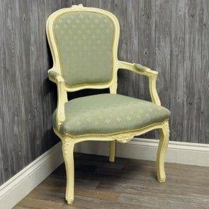 Antique Cream Duck Egg Diamond Louis Xv Arm Chair