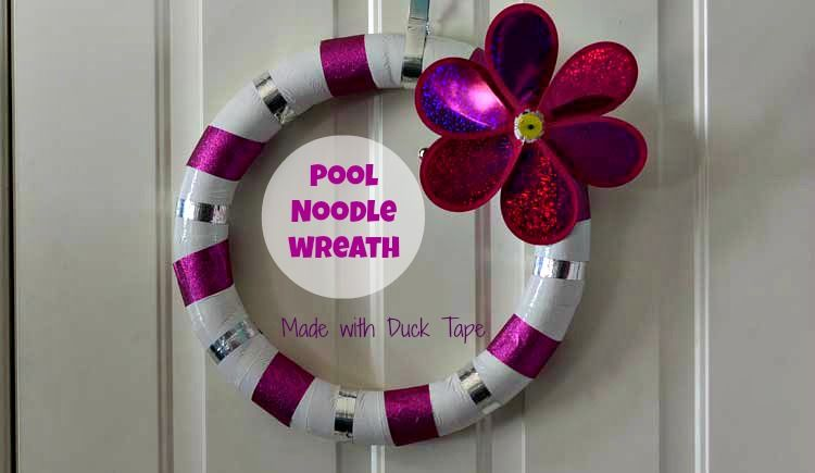 Turn a pool noodle in to a festive spring wreath in about 15 minutes with festive Duck Tape! #poolnoodlewreath