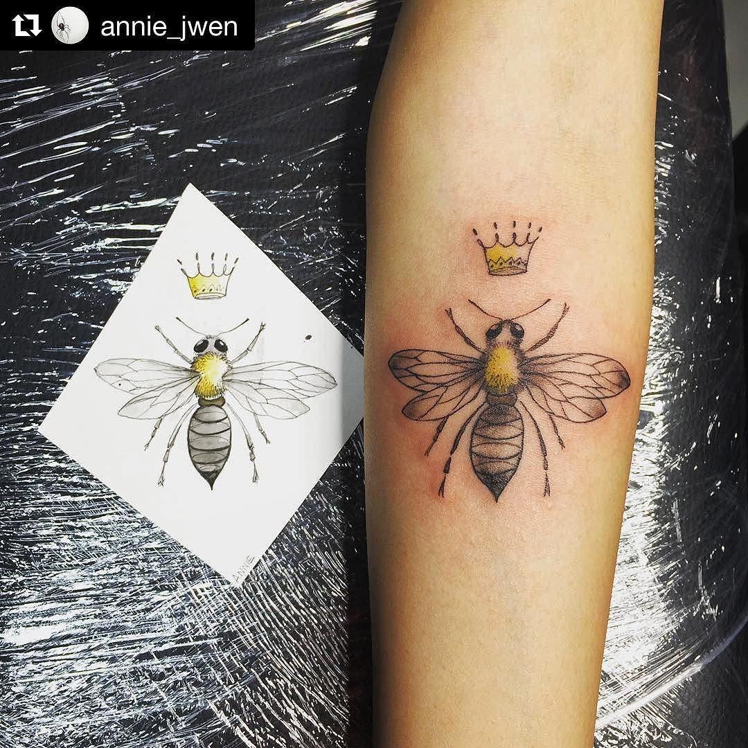 Queen Bee By Annie Jwen My Queen Blaze Your Own Trail Queen Bee Tattoo Bee Tattoo Wrist Tattoo Cover Up