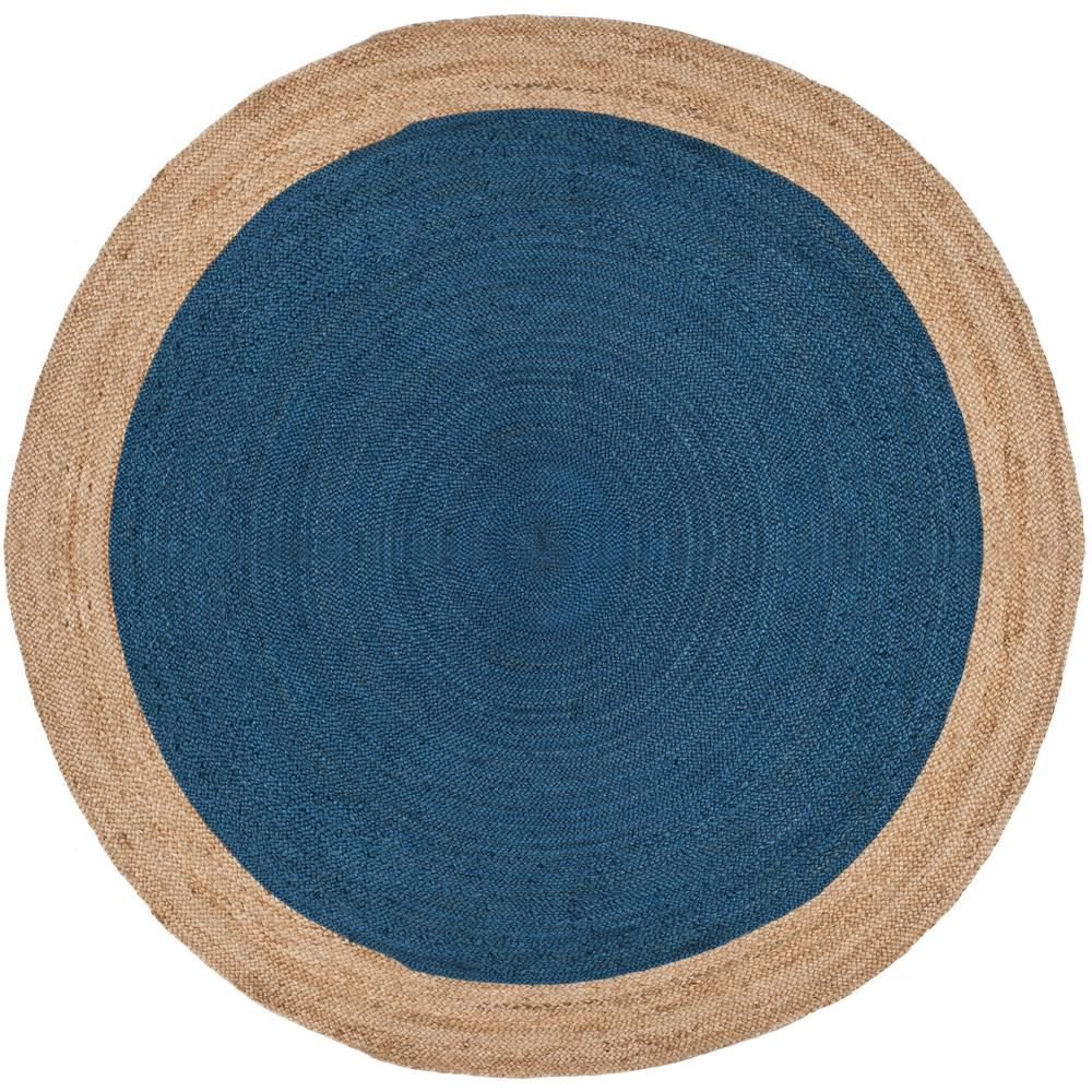 Safavieh Natural Fiber Royal Blue Beige 8 Ft X 8 Ft Round Area