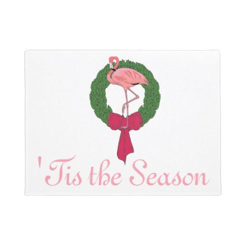 Pink Flamingo Christmas Wreath Doormat  sc 1 st  Pinterest & Pink Flamingo Christmas Wreath Doormat | Popular Christmas Home ...