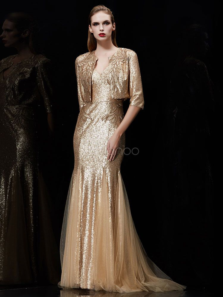 d94a36505c84 Sequin Evening Dress 2 Piece Applique Mother Of The Bride Dress Light Gold  V Neck Mermaid Wedding Guest Dresses With Train  Applique