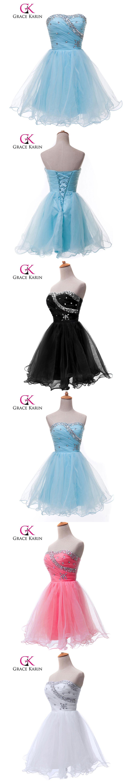 Grace Karin Cute Pink Blue White Black Short Prom Dresses Beading ...