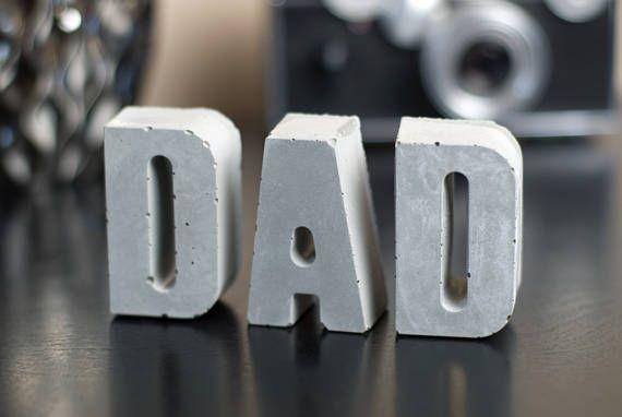 DAD Concrete Letters - Father Day Gift - DAD - Mini Concrete Letters