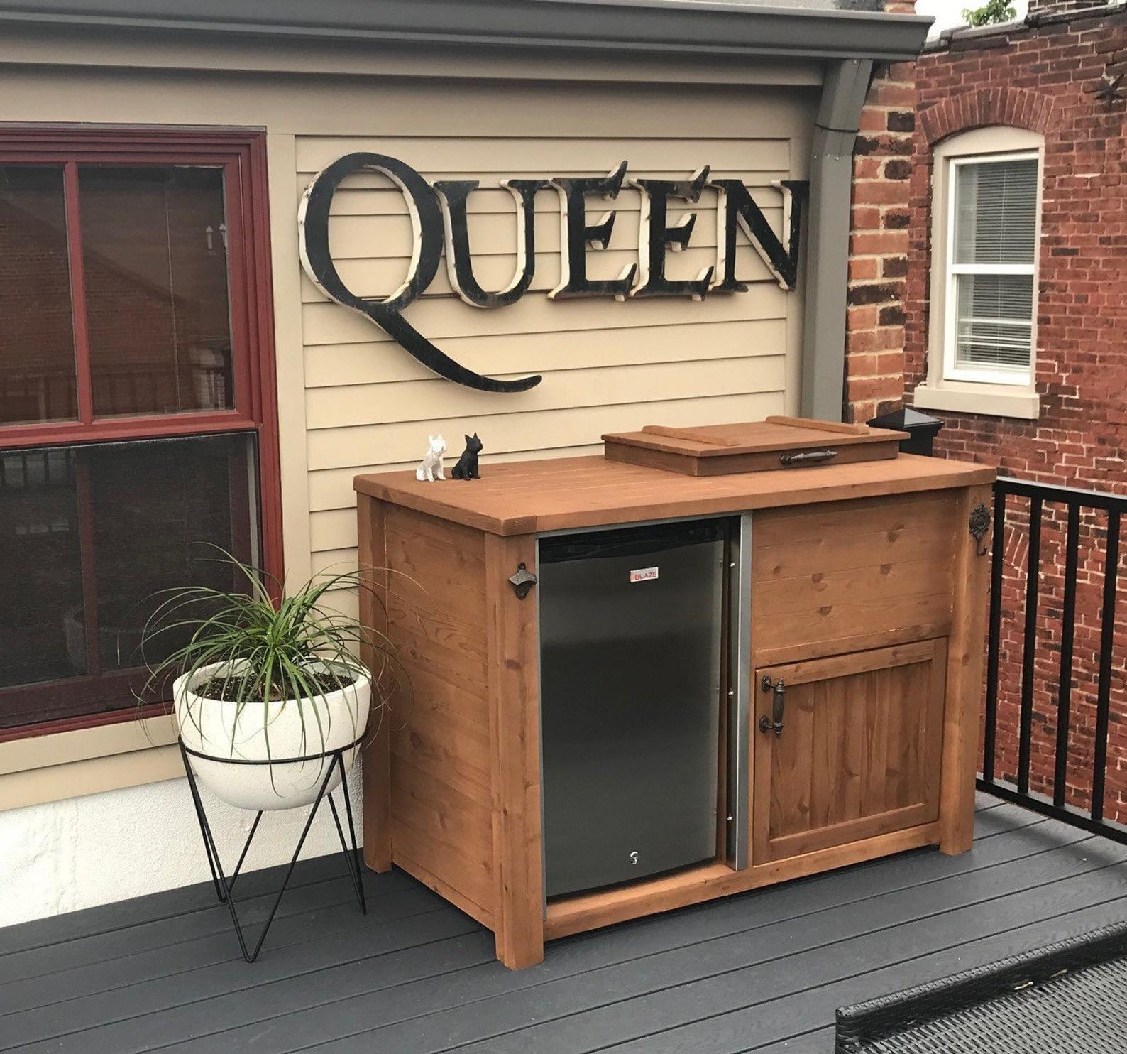 Mini Fridge Cooler Table Can Be Customized In 2020 Outdoor Patio Bar Outdoor Fridge Cabinet Mini Bar