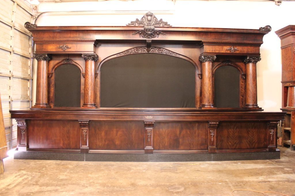 Brunswick 20' Birch Antique Back Bar, circa 1905 Antique