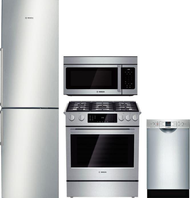 Bosch Boreradwmw10 4 Piece Kitchen Appliances Package With Bottom Freezer Refrigerator Gas Range Dishwasher And Over The Range Microwave In Stainless Steel Bottom Freezer Refrigerator Kitchen Appliance Packages Bottom Freezer