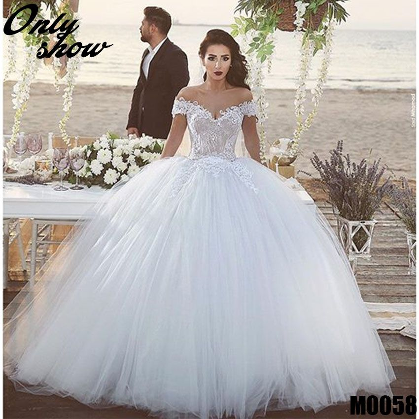 Off the Shoulder Lace Applique Lace Up Ball Gown Wedding Dress ...