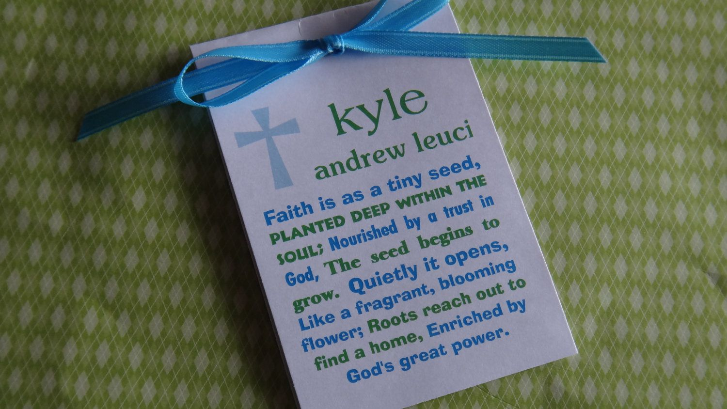 Personalized Blue Green Subway Art Religious Baptism First Holy Communion Christening Thank You Gift Favors. $21.00, via Etsy.