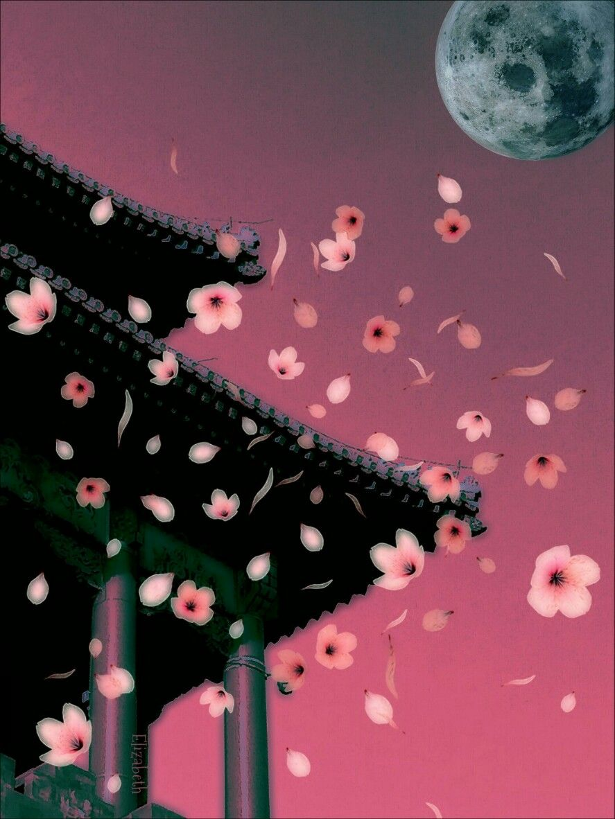 Good evening, have a wonderful weekend.   Image from @mrmengxiguan  #madewithpicsart #edited #pink #cherryblossom #clipart #moon #stickers #blur #curvestool #house