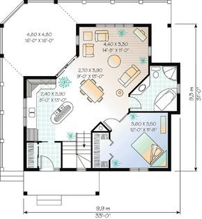 Four season cottage retreat dr vacation canadian metric narrow lot st floor master suite cad available pdf wrap around porch also plan in small cottages rh pinterest