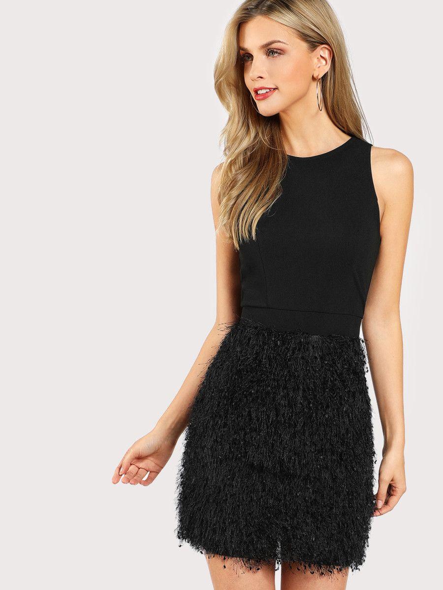 Faux Feather Bottom Dress Short Sheath Dress Dresses Embellished Cocktail Dress