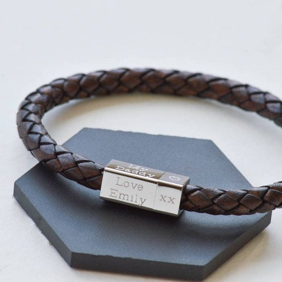 Men S Leather Engraved Bracelet Personalized By Undertheroseuk