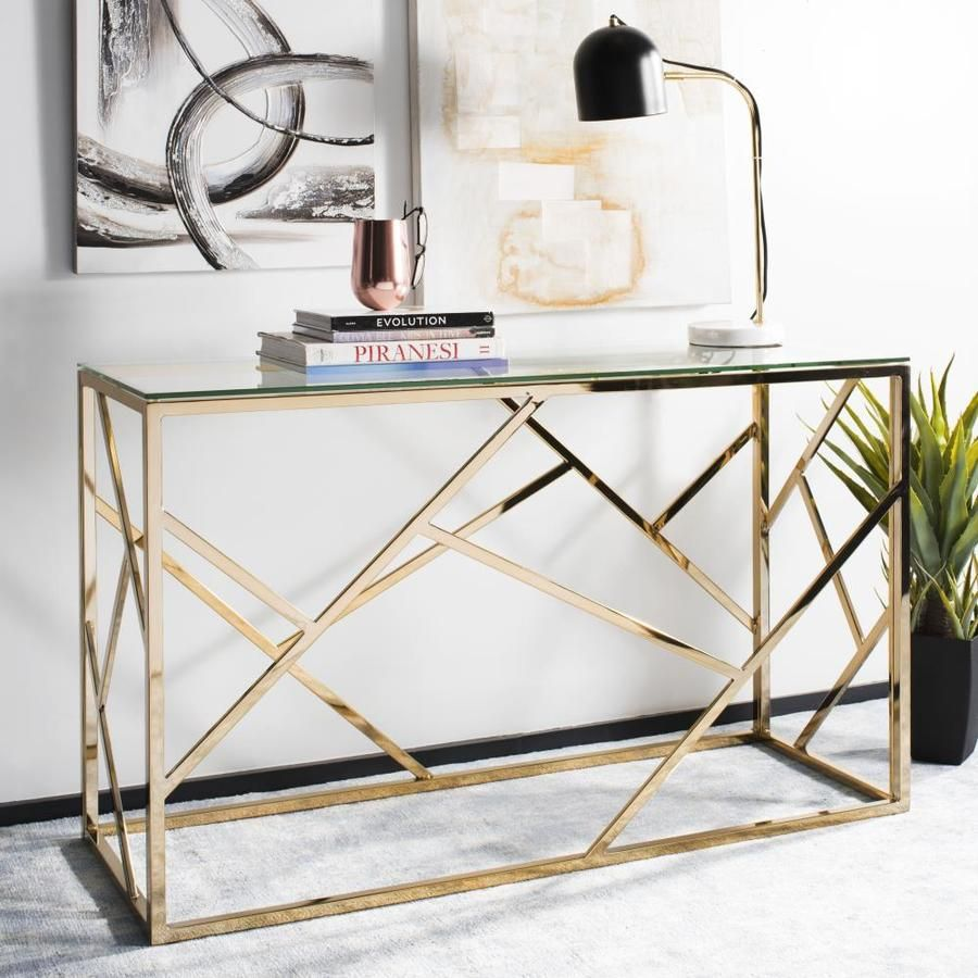 Safavieh Namiko Modern Console Table Lowes Com In 2020 Brass Console Table Contemporary Console Table Glass Console Table
