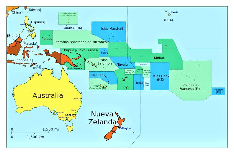 Croquis Del Mapa De Oceaniaque Este Localizada Australia Y Nueva Zelanada Buscar Con Google Oceanía Islas Marshall Continentes