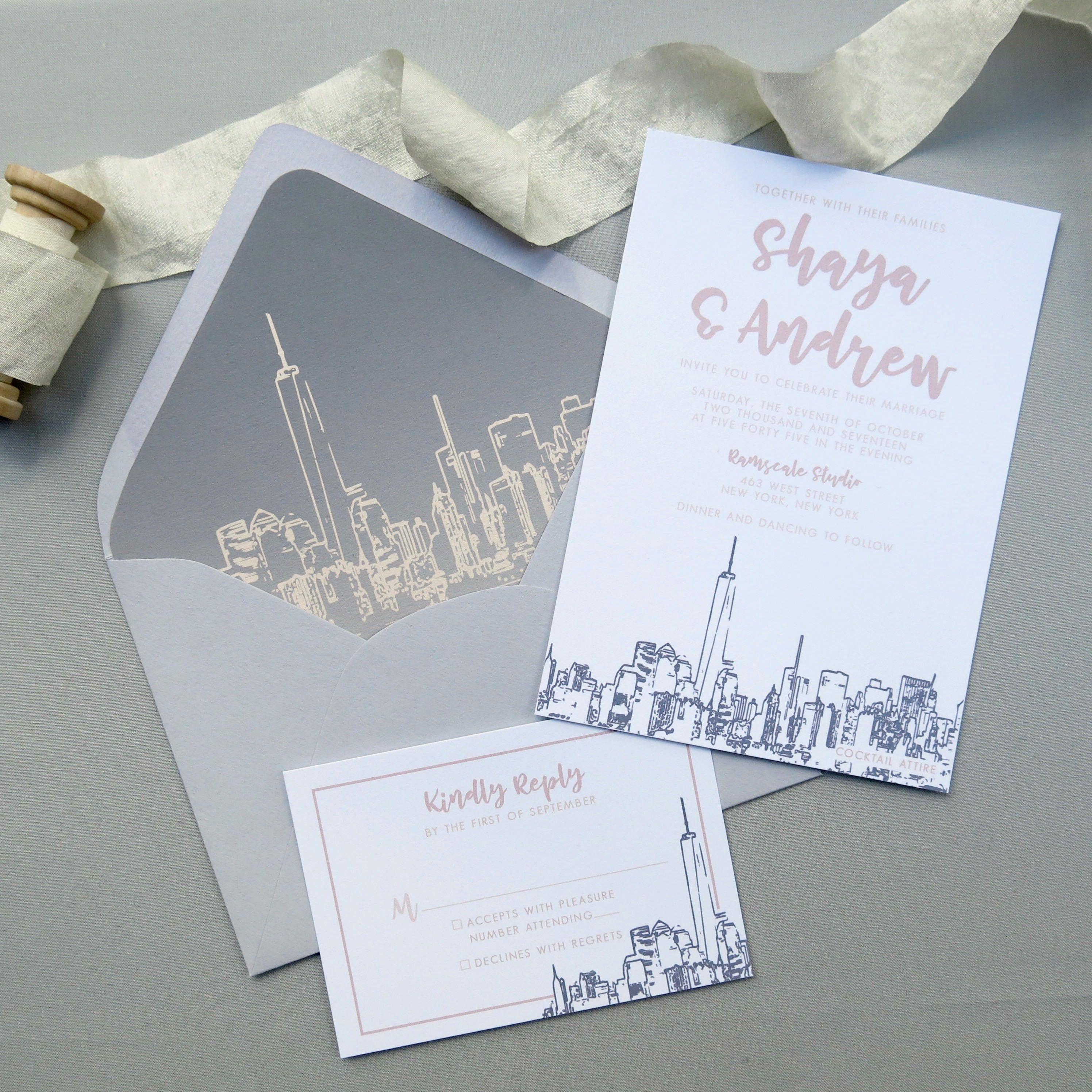 Nyc Skyline Wedding Invitation Suite Grey And Blush Pink Wedding Invitations By Jennif City Wedding Invitations Shine Wedding Invitations Wedding Invitations