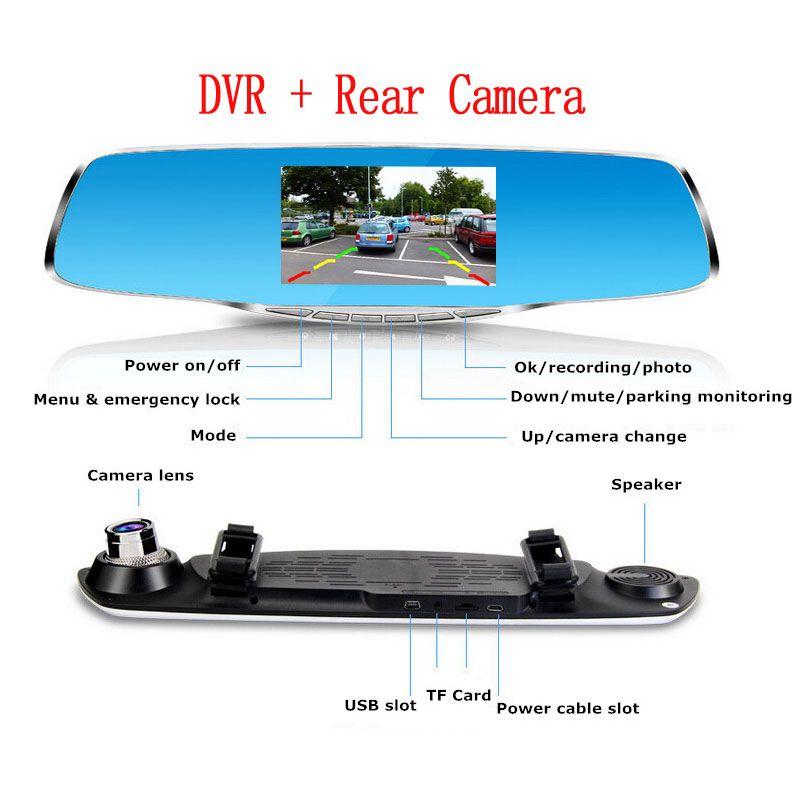 "4.3"" Display Dual lens Car Camera Car Dvr Blue Review Mirror Digital Video Recorder Night vision + Full HD 1080P Rear Camera"