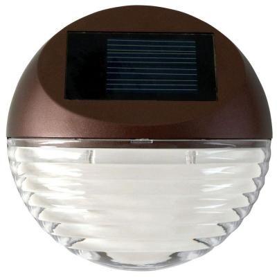 Moonrays Solar Powered Mini Led Bronze Round Outdoor Deck Light 95027 The Home Depot Solar Deck Lights Led Deck Lighting Outdoor Deck Lighting