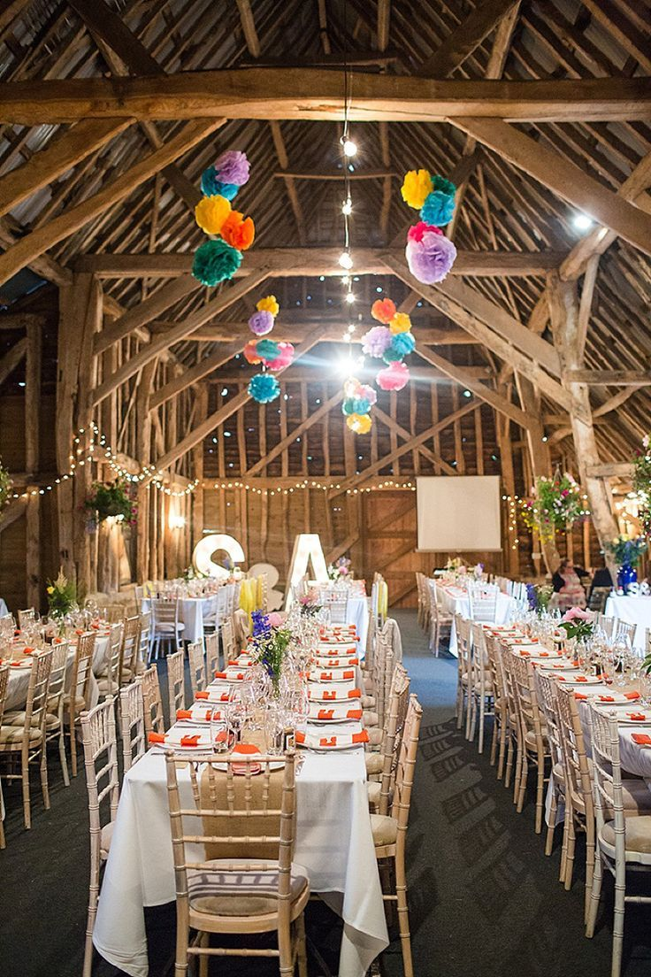 Colourful Happy Home Made Countryside Barn Wedding