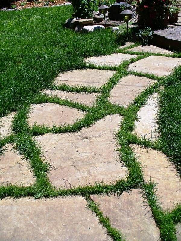 flagstone path with grass | Walks & Pathways