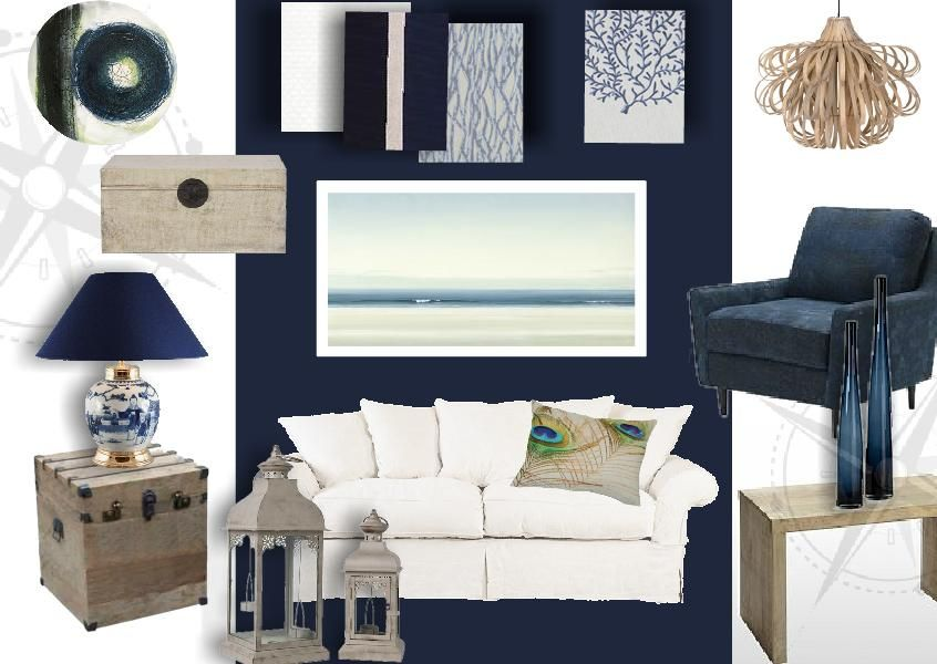 Beach Cottage inspired family room in white