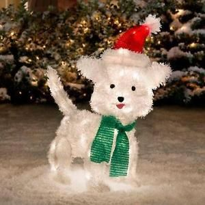 24 034 outdoor lighted christmas white furry dog puppy sculpture holiday yard decor