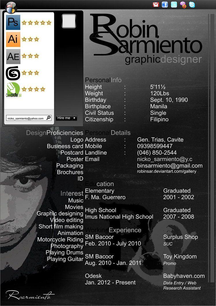 Robin Sarmiento Resume By Robinsar On Deviantart Infographic Resume Visual Resume Graphic Resume