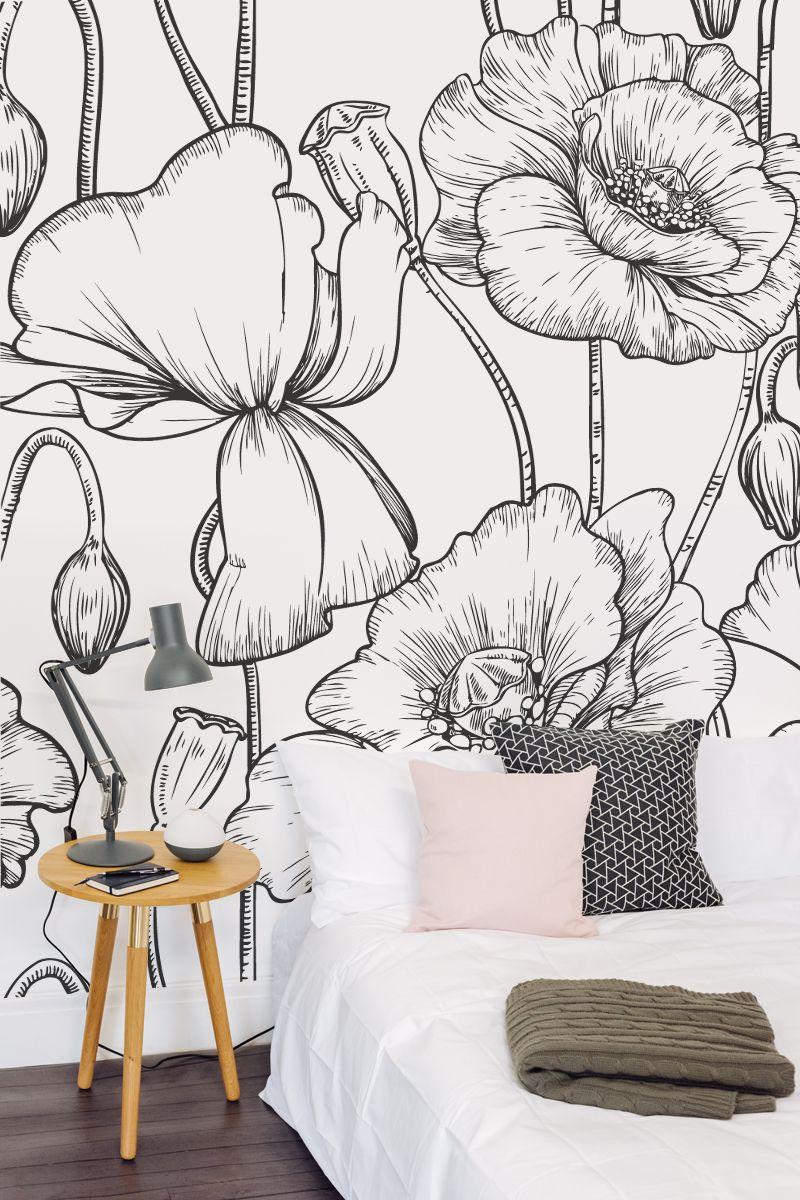 Black White Flower Print Wallpaper Muralswallpaper Wallpaper Living Room Black And White Wallpaper Wallpaper Bedroom