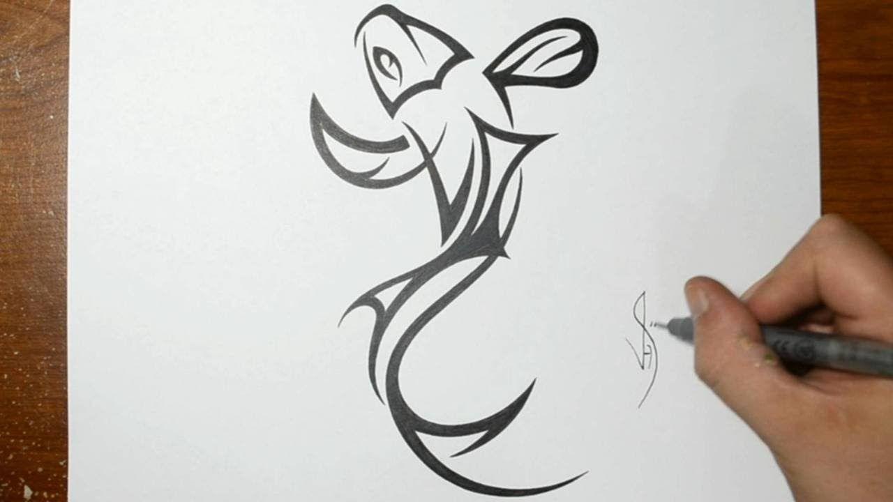 How To Draw A Tribal Koi Fish Tattoo Design Koi Fish Tattoo Fish Silhouette Tatoo Designs