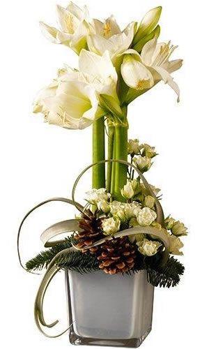 Superbe composition piqu e aux mignonnes roses o for Les amaryllis fleurs