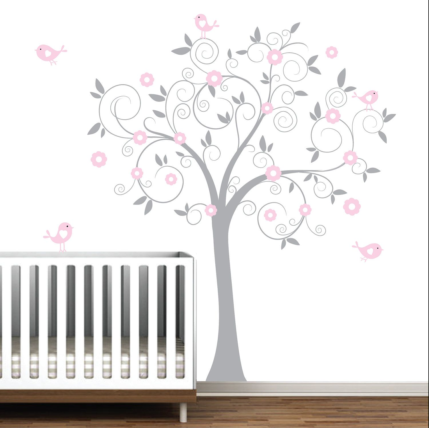 Grey and Pink Swirl Tree with Birds-Nursery Baby Wall Decal Vinyl. On etsy  sc 1 st  Pinterest & Grey and Pink Swirl Tree with Birds-Nursery Baby Wall Decal Vinyl ...